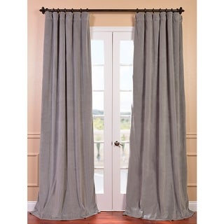 Signature Silver Grey Velvet 84-inch Blackout Curtain Panel