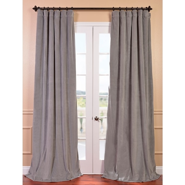 EFF Signature Silver Grey Velvet 108-inch Blackout Curtain Panel