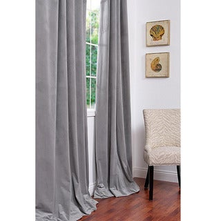 Signature Silver Grey Velvet 96-inch Blackout Curtain Panel