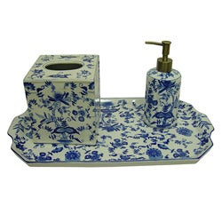 Blue/ White Floral Porcelain Bath Accessory 3-piece Set