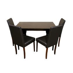 Warehouse of Tiffany Five-Piece Brown Faux-Leather Dining Furniture Set