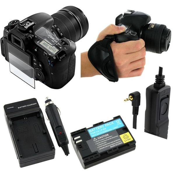 Screen Protector/ Remote/ Battery/ Charger/ Hand Strap for Canon 60D