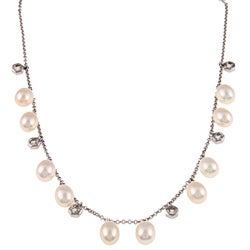 DaVonna Silver White FW Pearl and Topaz Stones 16-inch Necklace (7.5-8 mm)