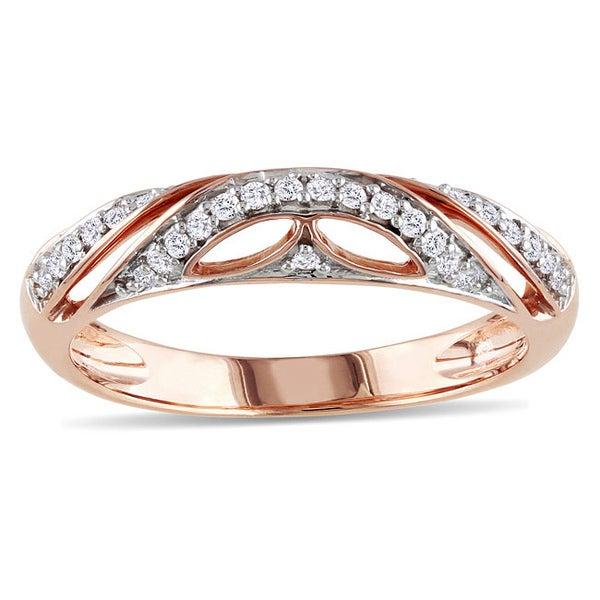 Miadora 10k Pink Gold 1/8ct TDW Diamond Ring (G-H, I2-I3)