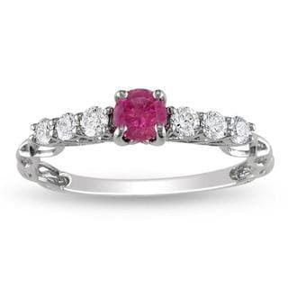Miadora 14k Gold 5/8ct TDW Pink and White Diamond Ring (G-H, I1-I2) with Bonus Earrings