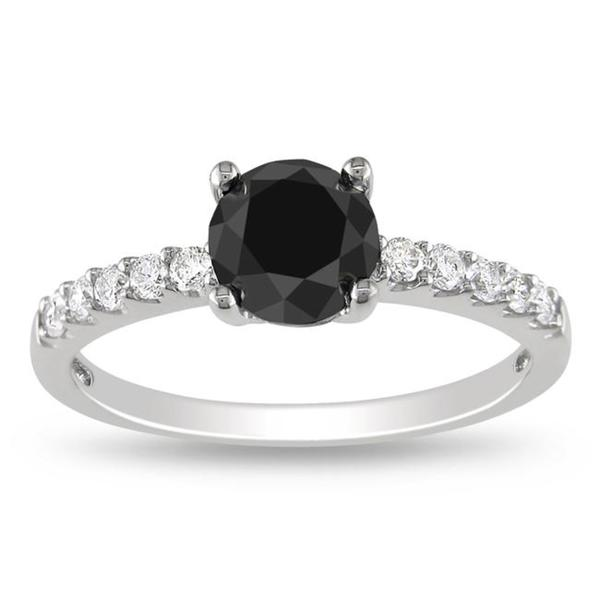 Miadora 14k Gold 1 1/4ct TDW Black and White Diamond Classic Bridal Ring (G-H, I1-I2)