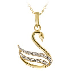 DB Designs 18k Gold over Silver Diamond Accent Swan Necklace