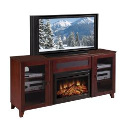 Shaker 70-inch Dark Cherry TV Console and Electric Fireplace