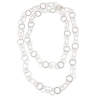 La Preciosa Sterling Silver 42-inch Circle and Oval Link Necklace