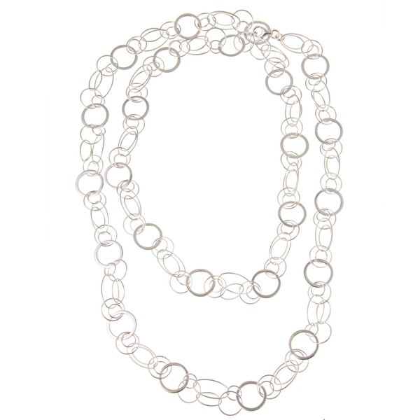 La Preciosa Sterling Silver 42-inch Circle and Oval Link Necklace