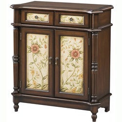 Hand Painted Brown Floral Accent Chest