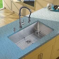 Vigo Undermount Stainless-Steel Kitchen Sink/Single-Handle Faucet/Grid/Strainer/Dispenser