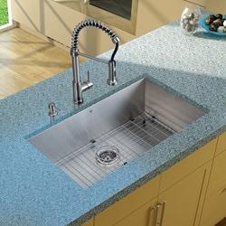 Vigo Undermount Stainless Steel Kitchen Sink/ Faucet/ Grid/ Strainer/ Dispenser