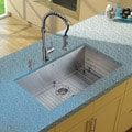 Vigo Undermount Stainless Steel Kitchen Sink/ Faucet/ Grid/ Strainer/ Dispenser