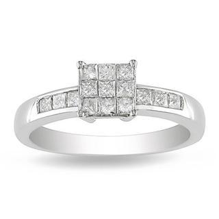 Miadora 10k White Gold 1/2ct TDW Multi Stone Princess Diamond Ring (G-H, I2-I3)