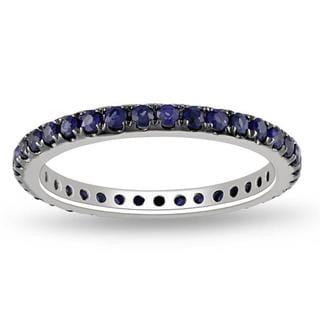 Miadora 14k White Gold Round Sapphire Eternity Ring