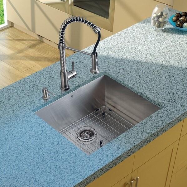 Vigo Undermount Stainless-Steel Kitchen Scratch-Resistant Sink/Faucet/Grid/Strainer/Dispenser