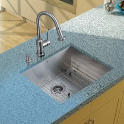 Vigo Undermount Stainless-Steel Kitchen Satin-Finish Sink/Faucet/Grid/Strainer/Dispenser
