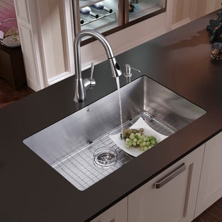 VIGO Undermount Stainless Steel Kitchen Sink, Faucet, Grid, Strainer and Dispenser
