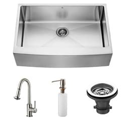 Vigo Farmhouse Stainless Steel Kitchen Sink/ Faucet/ Strainer/ Dispenser