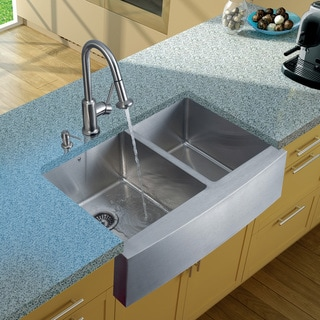 Vigo Farmhouse Stainless Steel Kitchen Sink/ Faucet/ Two Strainers/ Dispenser