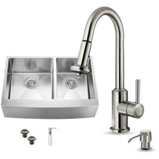 Vigo Farmhouse Stainless Steel Kitchen Sink/ Faucet/ Two Strainers/ Dispenser