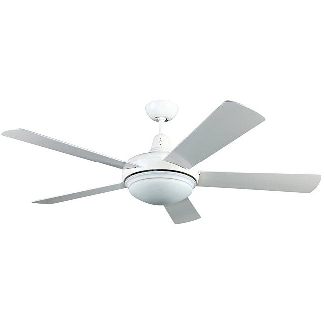 Contemporary White Two-light Ceiling Fan