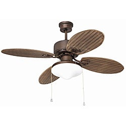 Outdoor Rubbed Bronze Two-light Ceiling Fan