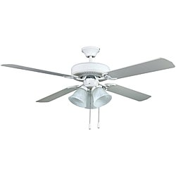 Transitional White Three-light Ceiling Fan