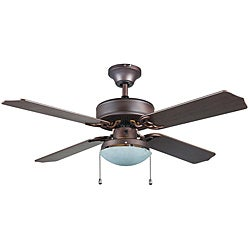 Transitional Bronze One-light Ceiling Fan