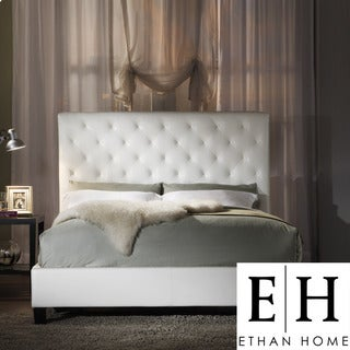 ETHAN HOME Sophie White Vinyl Tufted Full-size Bed