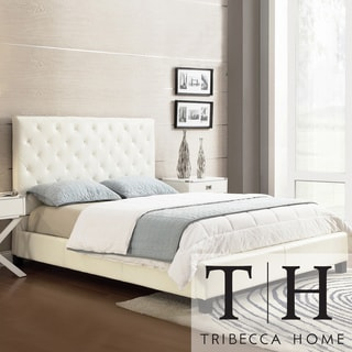 TRIBECCA HOME Sophie White Vinyl Tufted Full-size Bed