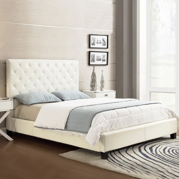 TRIBECCA HOME Sophie White Bonded Leather Tufted King-sized Upholstered Bed
