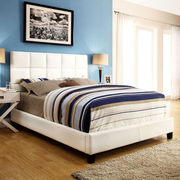 White Leather Upholstered Platform Beds 600 x 600