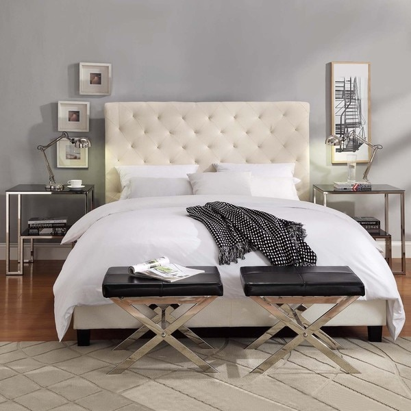 Tribecca Home Sophie Beige Fabric Tufted King Sized Upholstered Bed Overstock Shopping Great