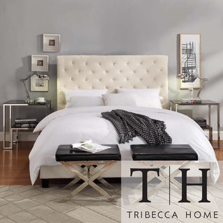 TRIBECCA HOME Sophie Beige Fabric Tufted King-size Bed