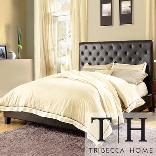 TRIBECCA HOME Sophie Dark Brown Vinyl Tufted Full-size Bed