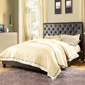 TRIBECCA HOME Sophie Dark Brown Bonded Leather Tufted Full-sized Upholstered Bed