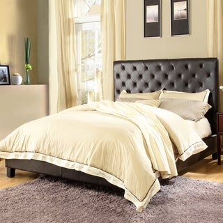 ETHAN HOME Sophie Dark Brown Vinyl Tufted King-size Bed