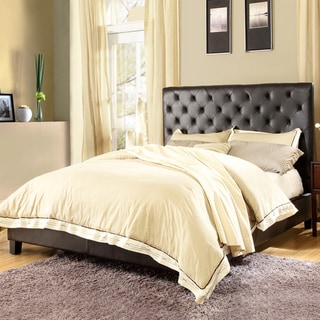 TRIBECCA HOME Sophie Dark Brown Bonded Leather Tufted King-sized Upholstered Bed