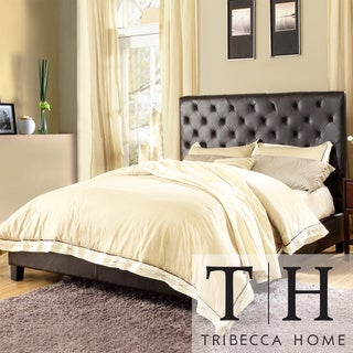 TRIBECCA HOME Sophie Dark Brown Vinyl Tufted King-size Bed