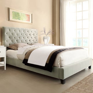 TRIBECCA HOME Sophie Taupe Velvet Tufted Full-Sized Upholstered Bed
