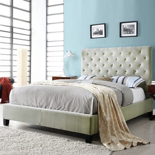 TRIBECCA HOME Sophie Taupe Velvet Tufted King-Sized Upholstered Bed