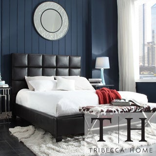 TRIBECCA HOME Sarajevo Dark Brown Vinyl Column King-size Platform Bed