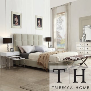 TRIBECCA HOME Sarajevo Taupe Velvet Column King-size Bed