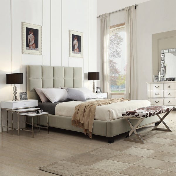 TRIBECCA HOME Sarajevo Taupe Velvet Column King-sized Upholstered Platform Bed