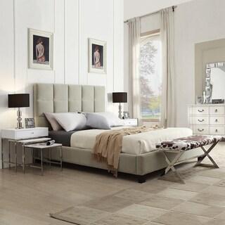 TRIBECCA HOME Sarajevo Taupe Velvet Column Queen-sized Upholstered Platform Bed