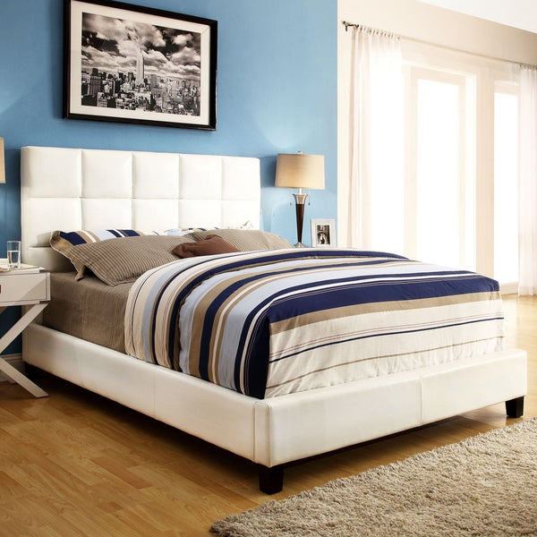 INSPIRE Q Fenton White Bonded Leather Panel King-sized Upholstered Platform Bed