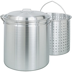 Bayou Classic 42-quart Aluminum Stockpot with Steamer Basket and Lid