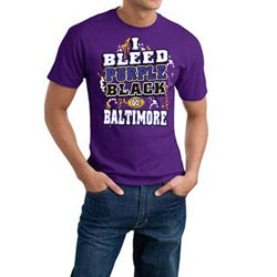 Baltimore Football 'I Bleed Purple & Black' Cotton Tee